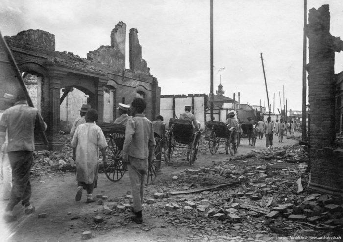 Strasse in Nanking nach der Revolution 1914