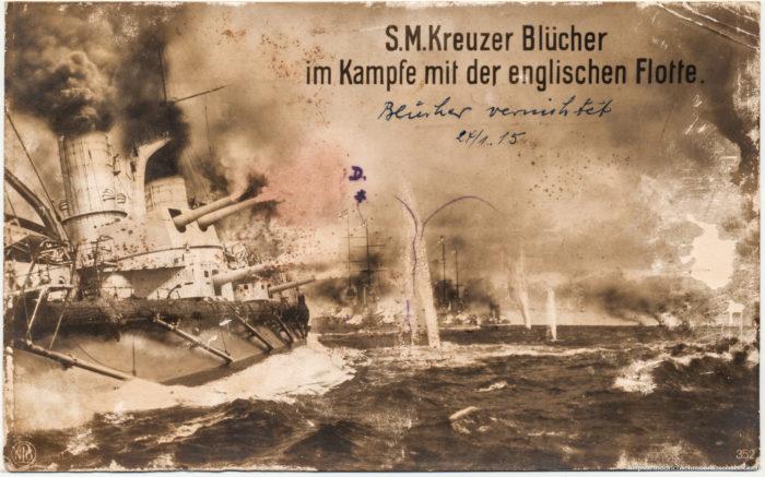 S.M.Kreuzer Blücher im Kampfe mit der englischen Flotte