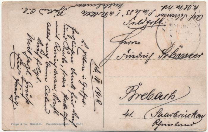 Postkarte von Friedrich an seinen Vater